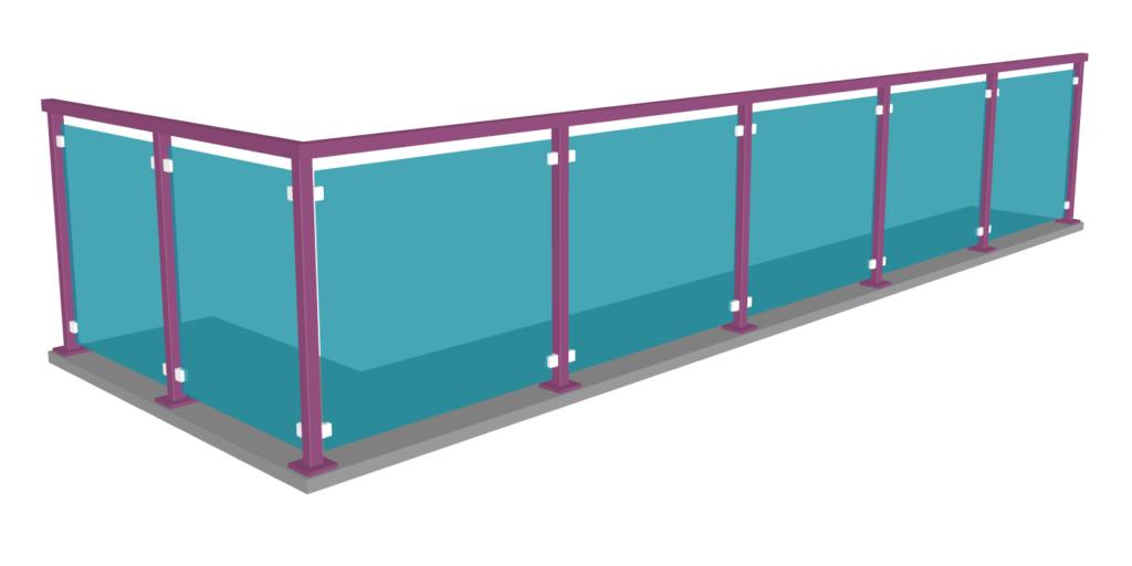 garde-corps en verre avec couleur personnalisable